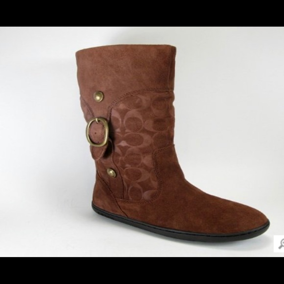 Coach Meyer signature embossed suede boots size 6